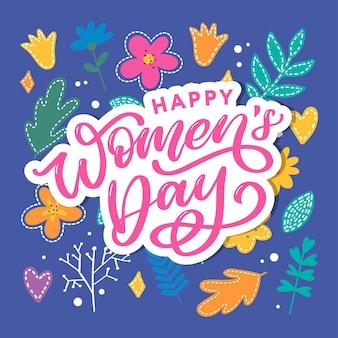Feliz dia da mulher, caligrafia de letras manuscritas com flores abstratas