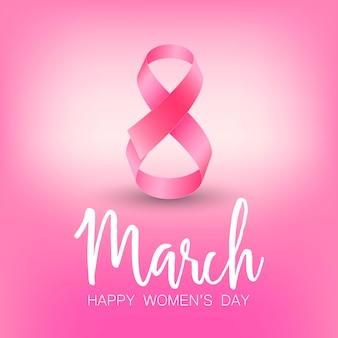 Feliz dia da mulher cartão com fita rosa