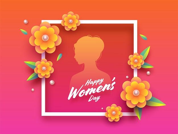 Feliz dia da mulher cartão com moldura e silhueta feminina