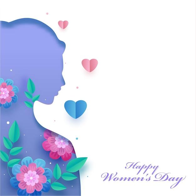 Feliz dia da mulher cartão com rosto feminino com corte de papel