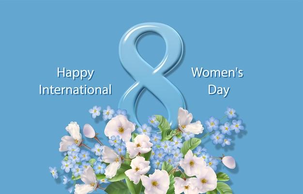 Feliz dia da mulher cartão comemorativo em 8 de março