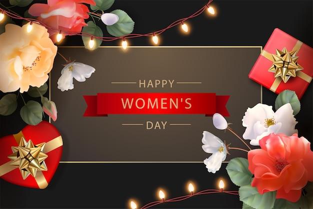 Feliz dia da mulher cartão comemorativo em março