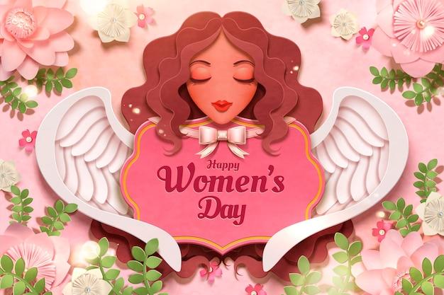 Feliz dia da mulher com decoração de anjo e flores em estilo de papel artesanal