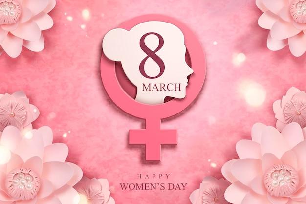 Feliz dia da mulher com decoração de flores e cabeça de mulher de papel