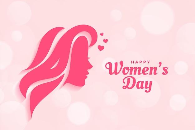 Feliz dia da mulher com design de pôster com rosto de mulher