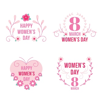 Feliz dia da mulher com emblemas florais