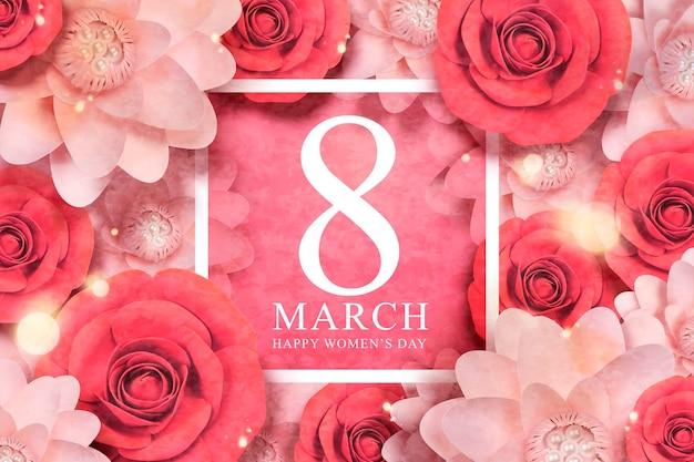 Feliz dia da mulher com enfeites de flores de papel em vermelho e rosa
