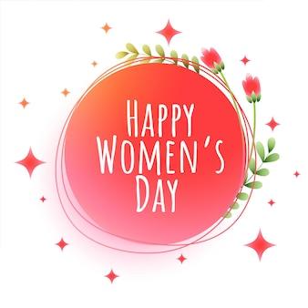 Feliz dia da mulher com flores e estrelas