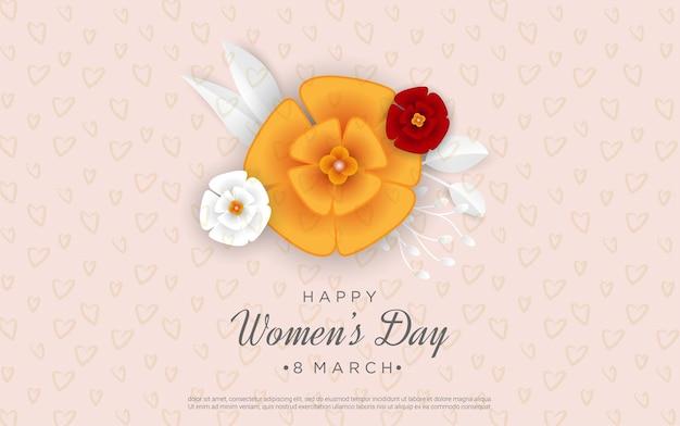 Feliz dia da mulher com flores luxuosas