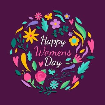 Feliz dia da mulher com flores multicoloridas