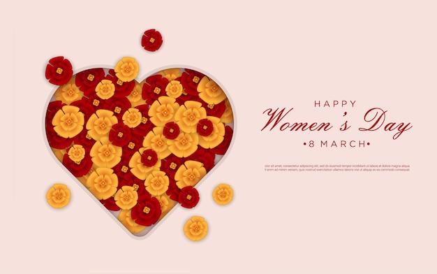 Feliz dia da mulher com flores no corte de papel de amor