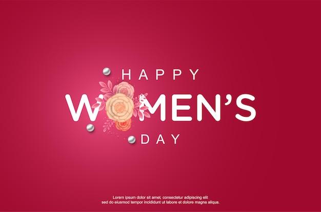 Feliz dia da mulher com flores realistas em fundo rosa