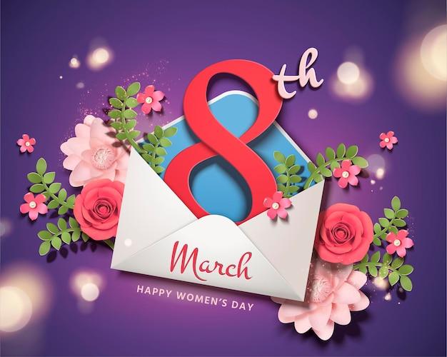 Feliz dia da mulher com o número 8 pulando do envelope e decoração de flores de papel