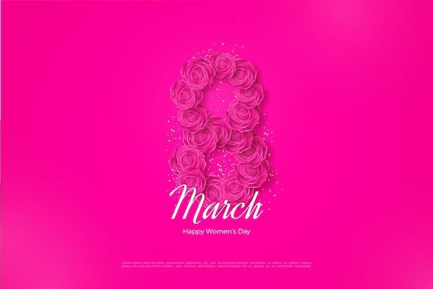 Feliz dia da mulher com rosas formando números.