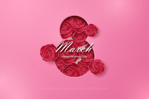 Feliz dia da mulher com rosas vermelhas.