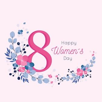 Feliz dia da mulher design floral para 8 de março