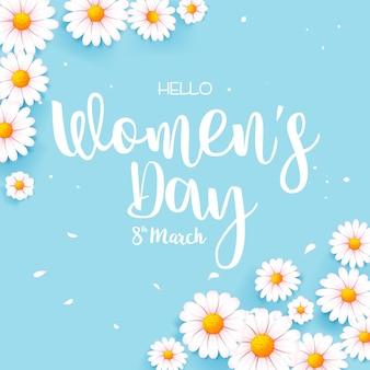 Feliz dia da mulher, dia 8 de março, caligrafia de texto com uma linda flor