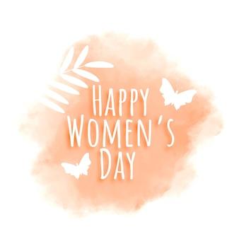 Feliz dia da mulher em aquarela cartão
