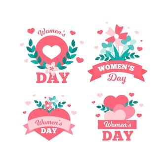 Feliz dia da mulher em todo o mundo coleção de crachá plana