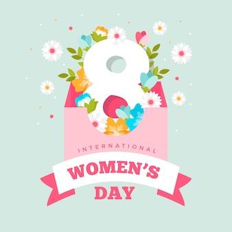 Feliz dia da mulher em todo o mundo design plano