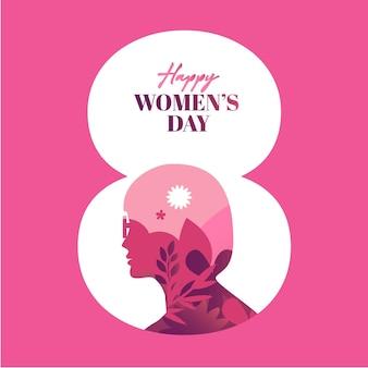Feliz dia da mulher ilustração silhueta meninas