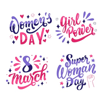 Feliz dia da mulher lettering conjunto de distintivo