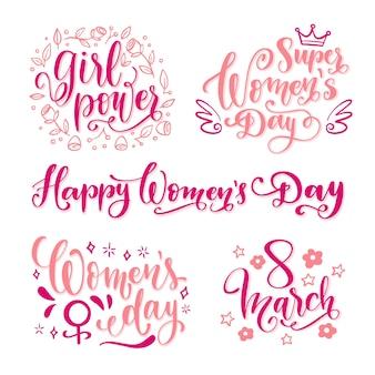 Feliz dia da mulher lettering conjunto de etiquetas