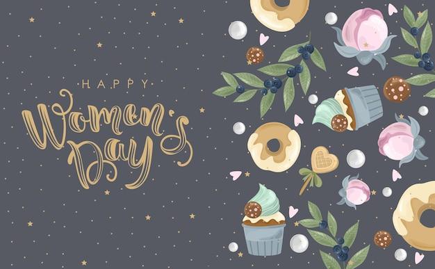 Feliz dia da mulher, saudação com fundo de flores desenhado à mão