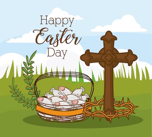 Feliz dia da páscoa com cruz e cesta com peixe sobre o fundo da paisagem