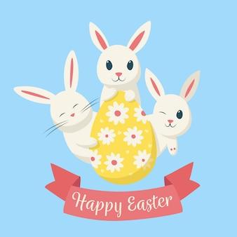 Feliz dia da páscoa desenhados à mão