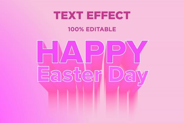 Feliz dia da páscoa efeito de estilo de texto 3d