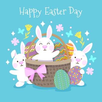 Feliz dia da páscoa fundo com design plano de coelhos