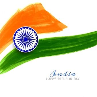 Feliz dia da república bandeira indiana design de fundo