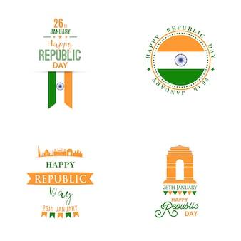 Feliz dia da República da Índia banners definido.