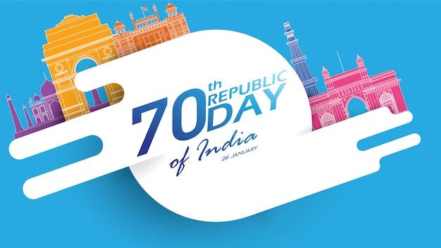 Feliz dia da república da índia vecto