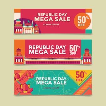 Feliz dia da república indiana mega venda banner com fundo vermelho forte
