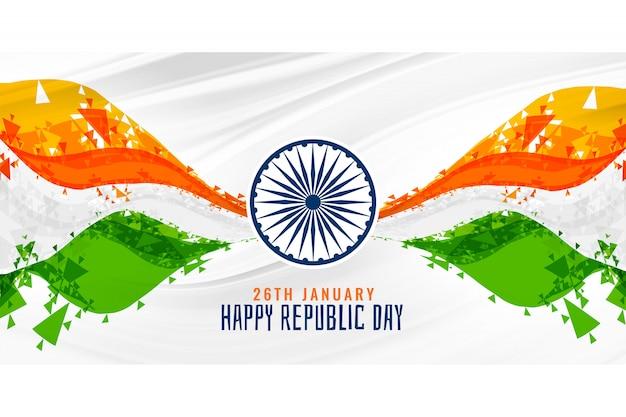 Feliz dia da república indiano bandeira abstrata bandeira fundo