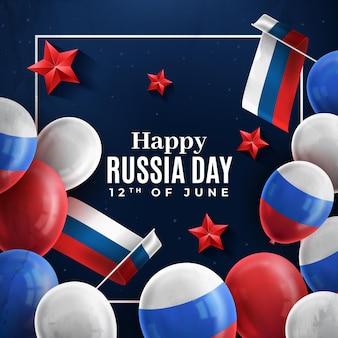 Feliz dia da rússia balões e bandeiras