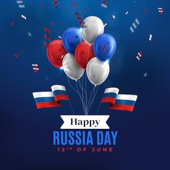 Feliz dia da rússia balões e confetes de fundo