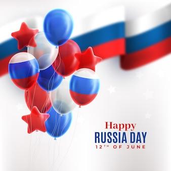 Feliz dia da rússia turva bandeira e balões de fundo