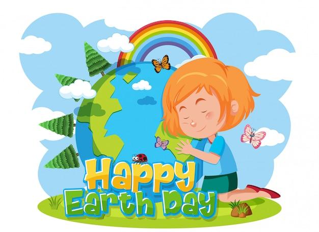 Feliz dia da terra com garota feliz, abraçando a terra