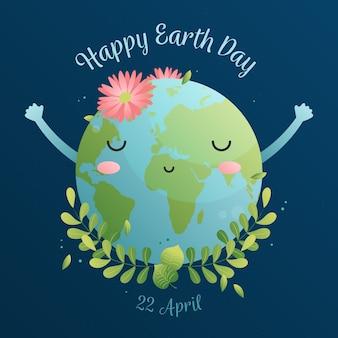 Feliz dia da terra com planeta fofo