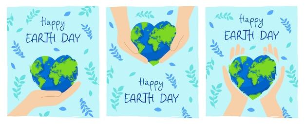Feliz dia da terra. conjunto de pôsteres com as mãos segurando um planeta