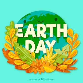 Feliz dia da terra fundo com mundo fofo