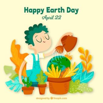 Feliz dia da terra fundo com natureza