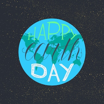 Feliz dia da terra lettering ilustração