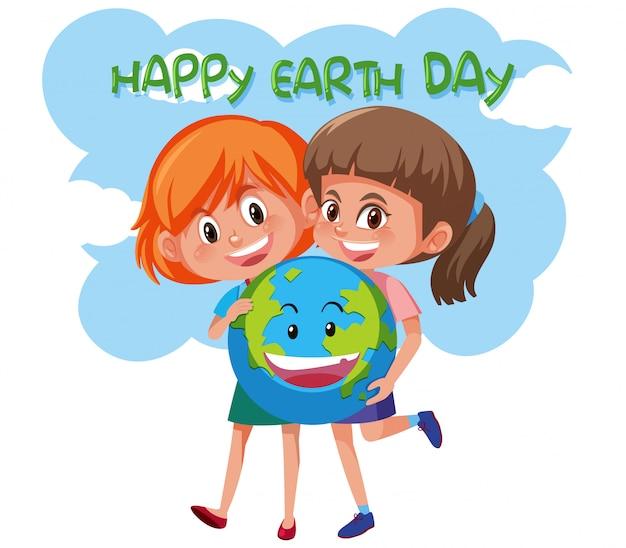 Feliz dia da terra meninas segurando a terra