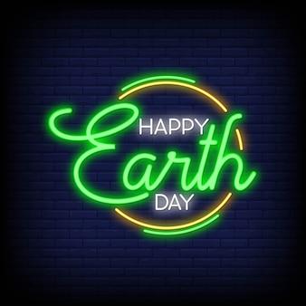 Feliz dia da terra para cartaz em estilo neon