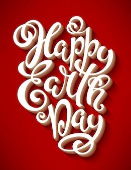 Feliz dia da terra poster com letras de mão.