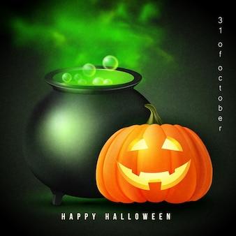 Feliz dia das bruxas 3d realista assustador jack lanterna e bruxa mágica pote de metal com líquido venenoso verde